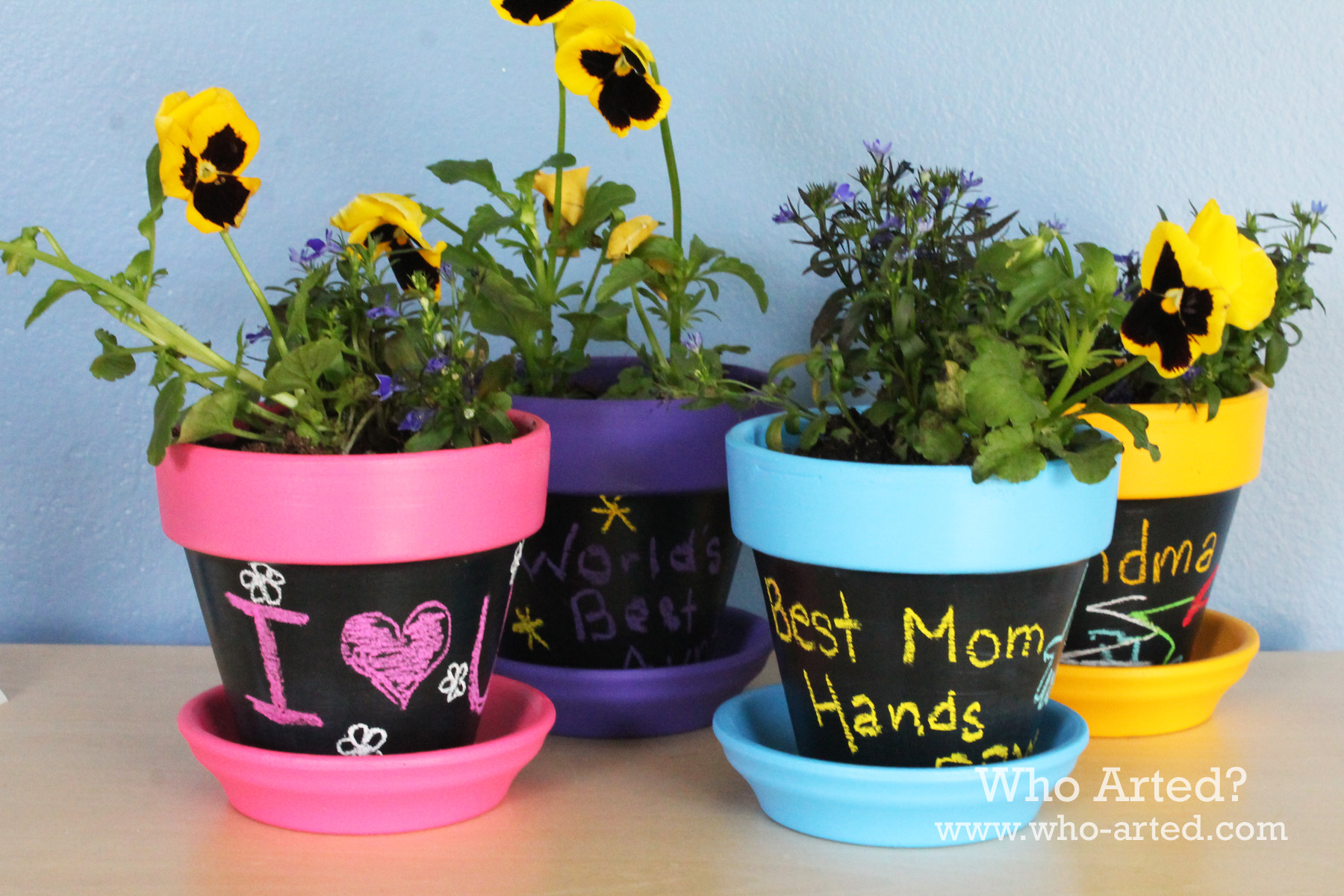 Chalkboard flower pots who arted for Art and craft pot decoration