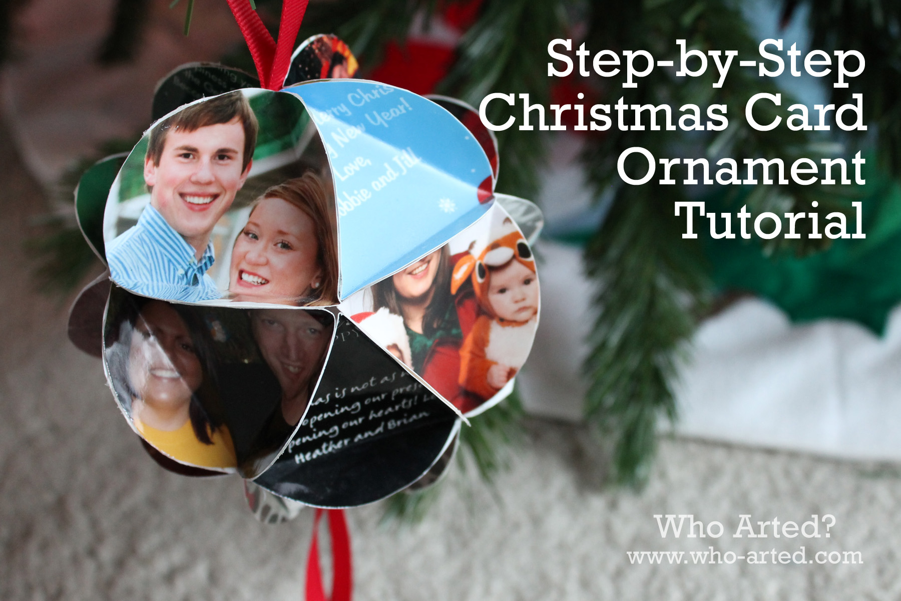 Christmas Card Ornament: Step-by-Step Instructions - Who Arted?