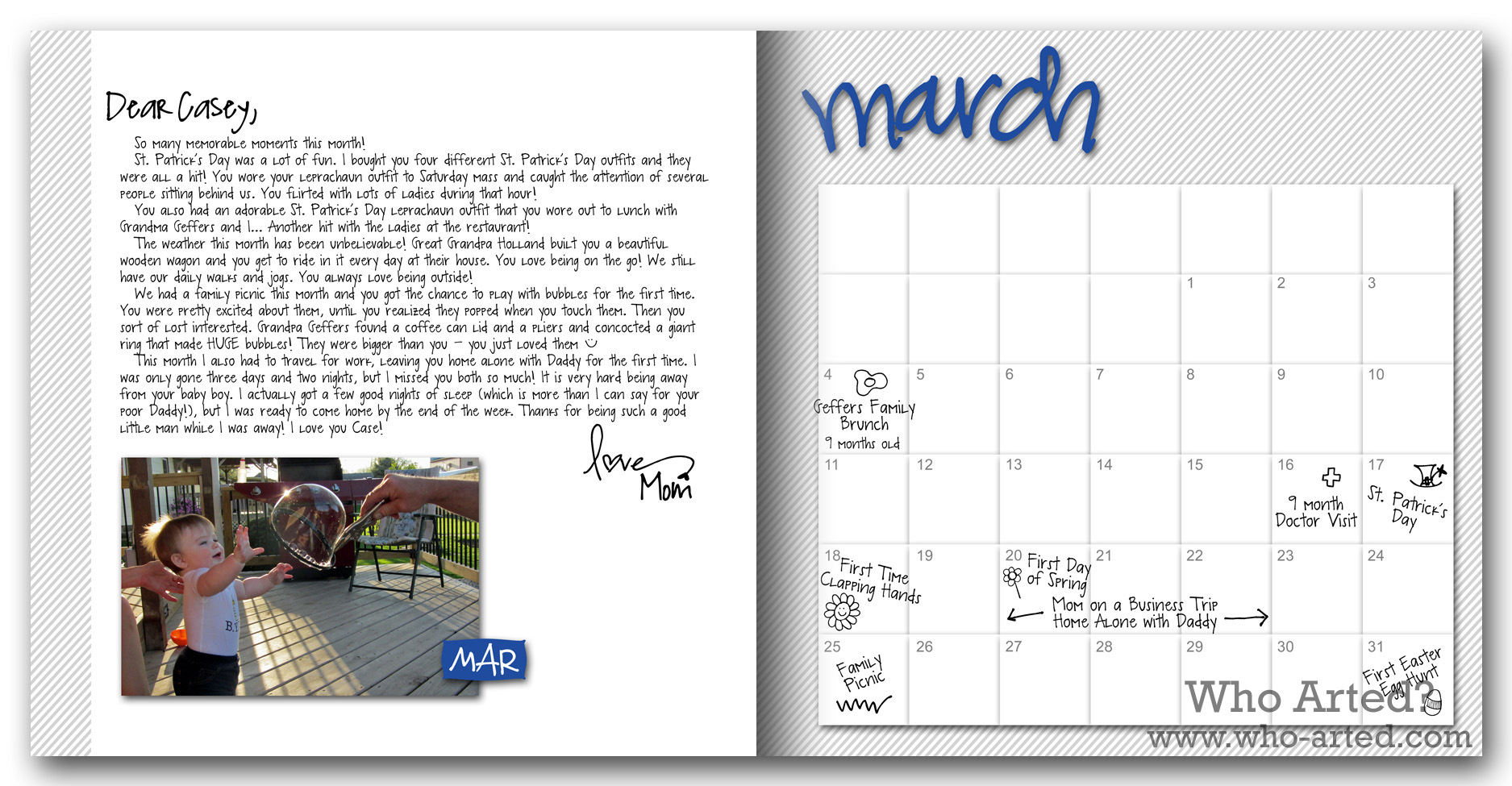 Calendar Photo Ideas For Each Month : Baby book ideas who arted