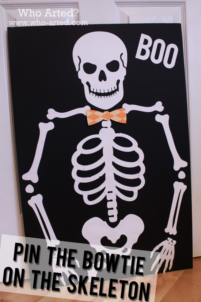 Halloween games for kids pin the bowtie on the skeleton - Scary skeleton games ...