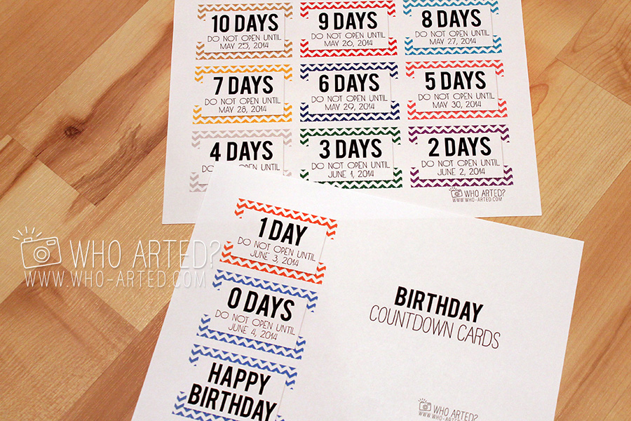 Birthday Countdown Garland Countdown Cards Who Arted 01