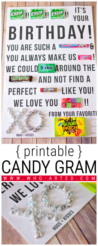 Candy Gram Birthday Card {printable} - Who Arted? Smarties Candy Money